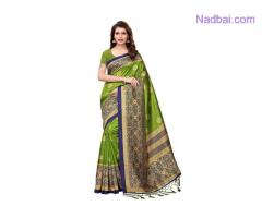 Buy Mehendi Green Colour Sarees Online at Mirraw