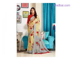 Shop beautiful Light Yellow Jute Saree with blouse from Mirraw
