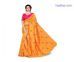 Shop beautifully designed Orange light weight saree from Mirraw