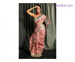 Buy Red & Grey Vintage Saree in Pure Gheecha Fabric at Mirraw