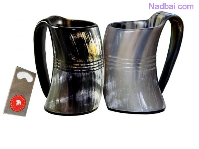 Viking drinking horn mug (set of two) Handcrafted Ox Cup Goblet