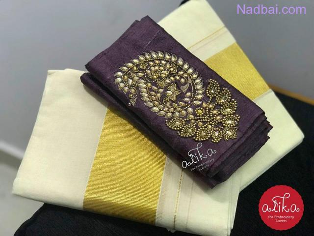 Kerala Set Mundu with Designer Blouse