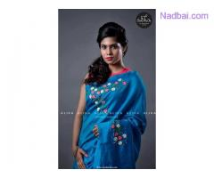 Blue Party Wear Saree with Floral Embroidery