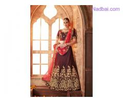 Embroidered lehenga with dupatta available at Mirraw