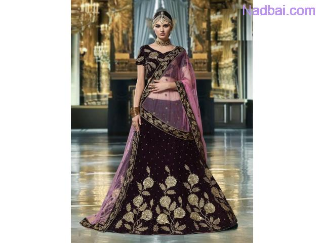 Embroidered velvet lehenga with dupatta at Mirraw