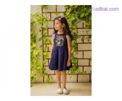 Blue linen embroidered kids frocks at Mirraw