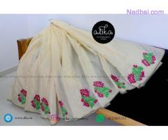Offwhite Chanderi Silk Saree with Embroidery