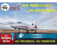 Get Fully Life Care Hi-tech Equipped Air Ambulance from Allahabad by King